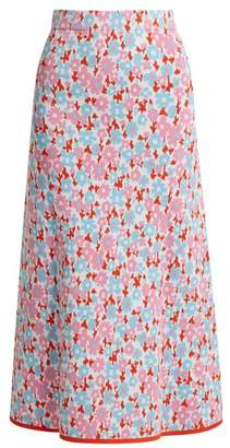 Joostricot - Floral Intarsia Stretch Jersey Skirt - Womens - Pink Multi