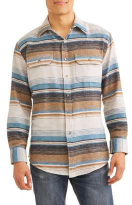 Plains Big And Tall Men's Long Sleeve Striped Flannel Western Shirt