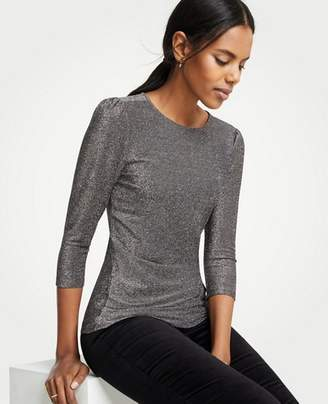 Ann Taylor Shimmer Puff Shoulder Knit Top