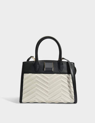 DKNY Sharon Satchel Bag in Black Ivory Lamb Nappa