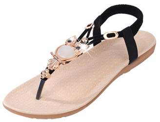 Bohemia Fashion Brand Best Show Women's Summer Style Elastic T-Strap Beaded Owl Flat Sandals