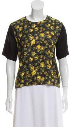 Band Of Outsiders Floral Print Silk Top