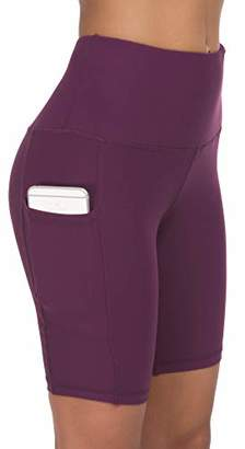 Custer's Night High Waist Out Pocket Yoga Short Tummy Control Workout Running 4 Way Stretch Yoga Leggings (