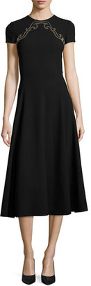 Ralph Lauren Collection Delphine Studded-Yoke Midi Dress, Black $2,290 thestylecure.com