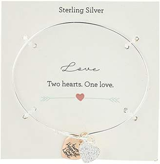 """Sterling Silver Two Tone Catch with""""Two Hearts One Love"""" Crystal Heart Charms Bangle Bracelet"""