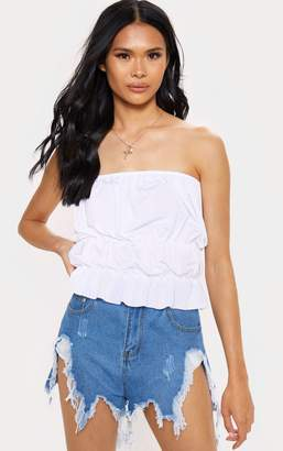 PrettyLittleThing White Acetate Slinky Ruched Hem Bandeau Top