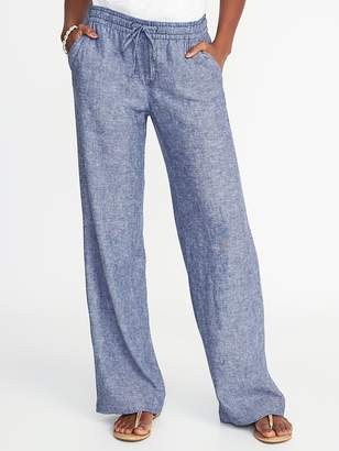 Old Navy Mid-Rise Linen-Blend Wide-Leg Pants for Women