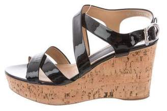 Salvatore Ferragamo Patent Leather Peep-Toe Wedges
