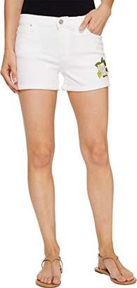 Hudson Women's Asha Embroidered White Midrise Cuffed Jean Shorts