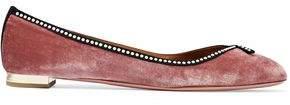 Aquazzura Lou Lou Faux Pearl-Embellished Velvet Ballet Flats