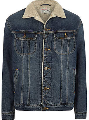 River Island Lee blue fleece collar denim jacket