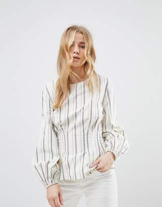 New Look Stripe Cotton Puff Sleeve Top