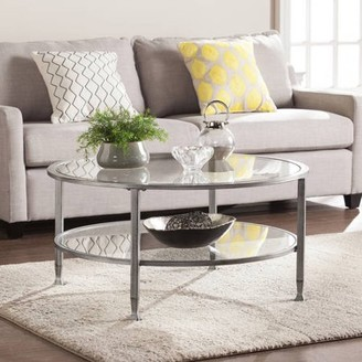 Southern Enterprises Jumpluff Metal/Glass Round Coffee Table