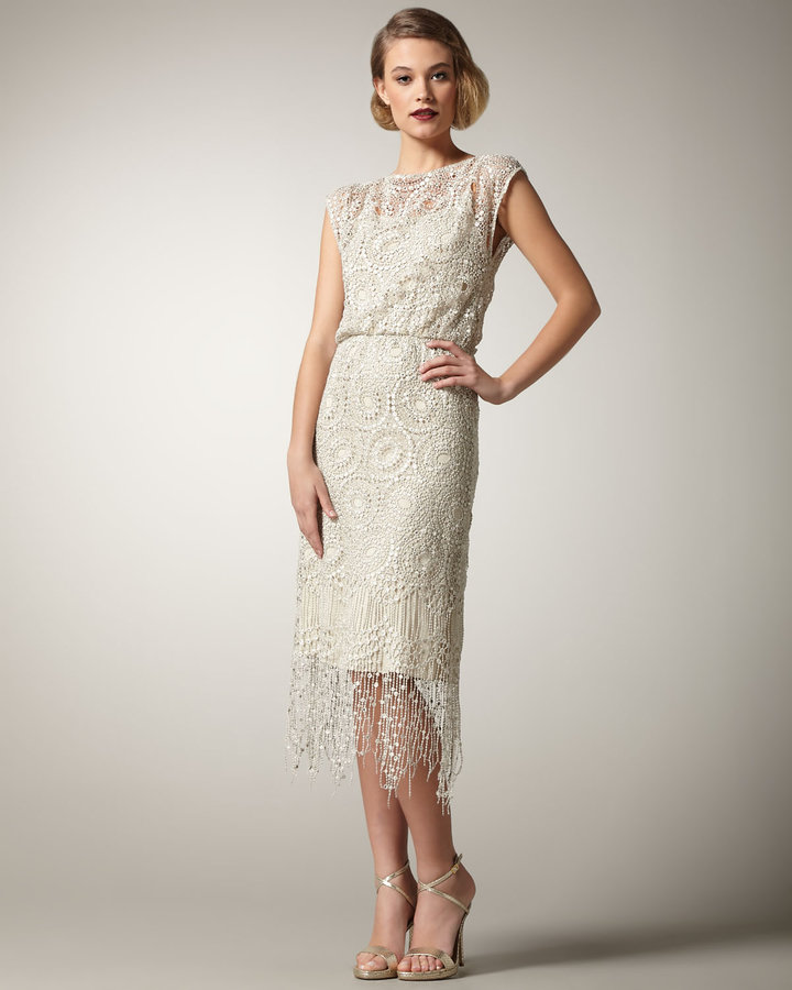 Alice + Olivia Lace Fringe Dress
