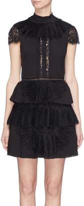 Alice + Olivia 'Rosetta' lace panel ruffle plissé pleated tiered dress