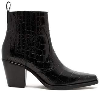 Ganni Crocodile Effect Leather Western Boots - Womens - Black