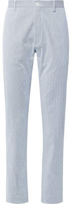 Zanella Noah Slim-fit Pinstriped Stretch-cotton Trousers - Blue