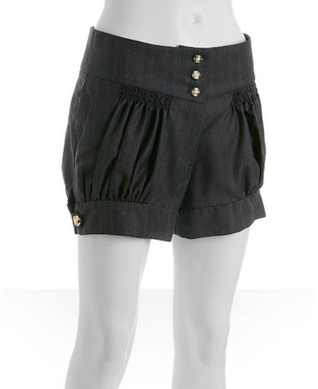 Johnson grey pinstripe wool 'Louise' smocked shorts
