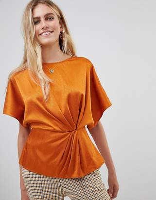 New Look twist front blouse in rust