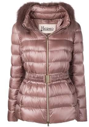 Herno fur trimmed puffer jacket