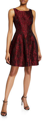 Halston Floral Jacquard Sleeveless Fit-&-Flare Dress