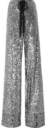 Naeem Khan Sequined Stretch-knit Wide-leg Pants - Silver