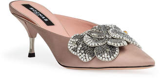 Rochas Dusty pink 60 crystal embellished mules