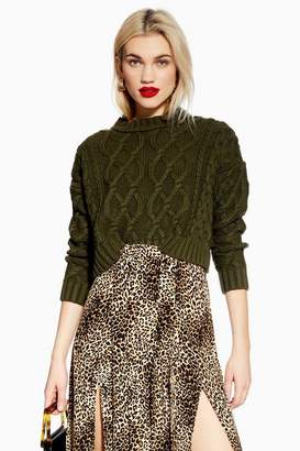 Topshop Petite Cropped Cable Knitted Jumper