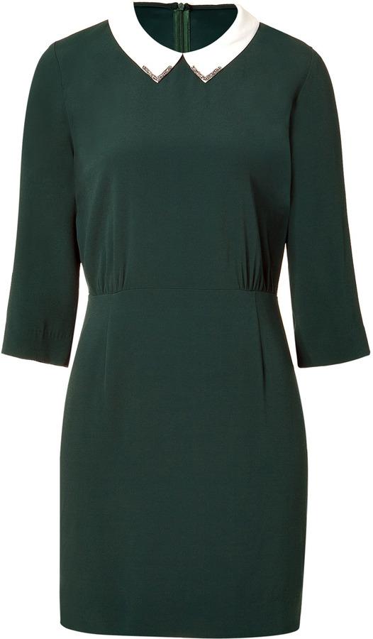 Sandro Bottle Green Demure Dress