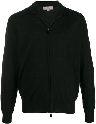 Canali stand collar zip-front cardigan