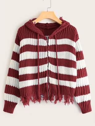 Shein Striped Frayed Hem Zip-up Hooded Cardigan