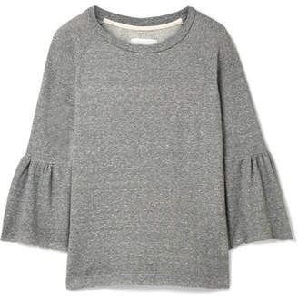 Current/Elliott The Ruffle Cotton-blend Terry Sweatshirt - Gray
