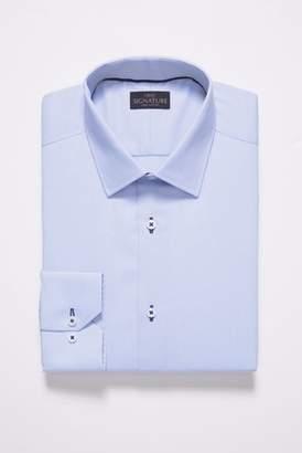 Formal Shirts Moss London Skinny Fit Navy Single Cuff Stripe Collar Shirt Size 16.5 Rrp£32.50