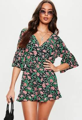 f6af8feb5ca Missguided Black Ruffle Sleeve Floral Plunge Romper