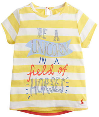 Joules Pixie Striped Be A Unicorn Tee, Size 2-6