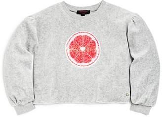 Juicy Couture Black Label Girls' Citrus Reversible Sequin Velour Pullover - Big Kid