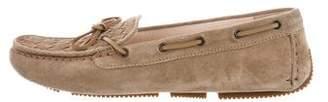 Bottega Veneta Intrecciato-Paneled Round-Toe Loafers w/ Tags