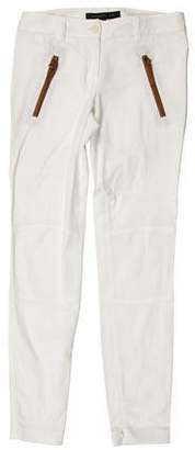 Barbara Bui Leather-Trimmed Low-Rise Pants