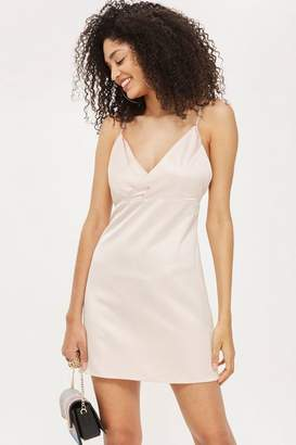Topshop Diamante Strap Mini Slip Dress