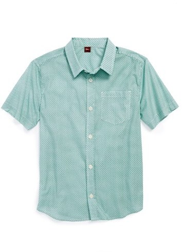 Tea Collection 'Tile Print' Short Sleeve Sport Shirt (Toddler Boys, Little Boys & Big Boys)