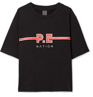 P.E Nation The Dartford Printed Cotton-jersey T-shirt - Black