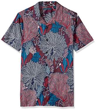Perry Ellis Men's Big and Tall Short Sleeve Camp-Collar Shirt