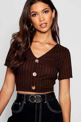 boohoo Rib Knit Short Sleeve Horn Button Front Crop