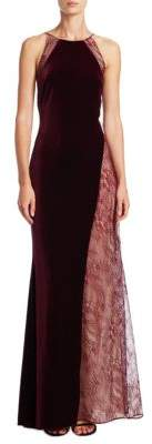 Badgley Mischka Velvet Lace Halter Gown