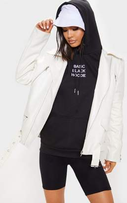 PrettyLittleThing White Oversized PU Biker Jacket