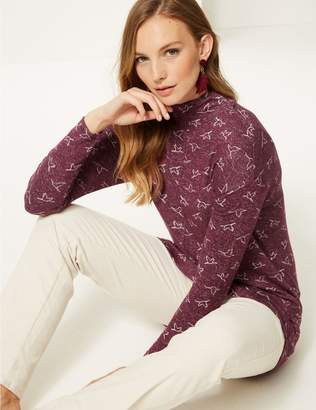 Marks and Spencer Printed Funnel Neck Long Sleeve Top