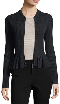 Jonathan Simkhai Released Rib Zip-Front Peplum Jacket