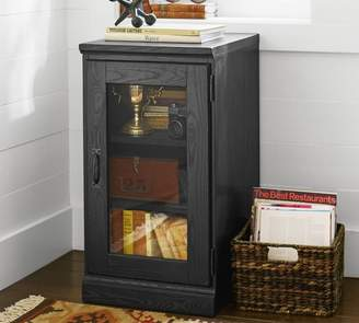 Pottery Barn Printer's Single Glass Door Cabinet, Artisanal Black