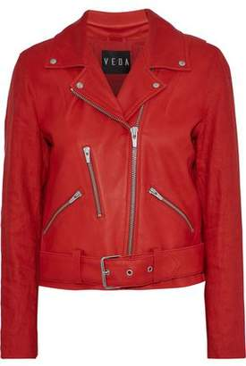 Veda Cal Linen-Paneled Leather Biker Jacket