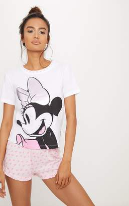 PrettyLittleThing Pale Pink DISNEY Minnie Mouse Frill Detail Short Pyjama Set